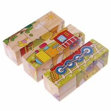 Rolimate Wooden Cube Block Jigsaw Puzzles - Train Car Ship airplane