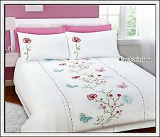 280TC White Red Aqua Pink Flora Butterfly Embroidery KING QUILT DOONA COVER SET