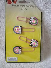 Set Of  4 Love Paper Clip Bookmarks