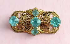 Vintage small beautiful Czech? glass gold tone filigree brooch