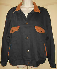 Denim Jean Jacket Lined LARGE Womens XL Blk Coat Corduroy Collar Red Pepper 5d32