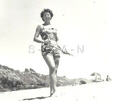 Vintage Large Real Photo- Semi Nude Woman- Amateur- Bathing Suit- Beach- 40s-50s