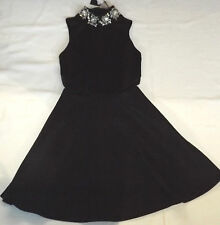 BNWT ASOS UK 8 EUR 36 BLACK JEWELLED HIGH NECK COCKTAIL PARTY SKATER DRESS
