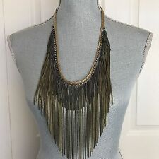 New FREE PEOPLE Chain Waves Bronze Layered Fringe Necklace Multi bib Statement