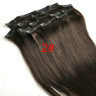 "New Clip In Remy Human Hair Extensions Full Head 15""7PCS Straight #02 Dark Brown"