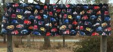 Hot Rods Boys Antique Vintage Cars on Black Cotton Curtain Topper Valance NEW