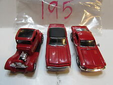 RACING CHAMPIONS LOT OF 3 MUSTANG '33 FORD COUPE '68 CHEVY CAMARO RED