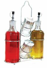 Palais Glassware 5 Piece Oil, Vinegar,Salt and Pepper Cruet Set with a Caddy ...