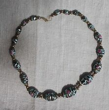 """VINTAGE Graduated Venetian Glass Bead Strand Necklace Wedding Cake AS IS 17"""""""