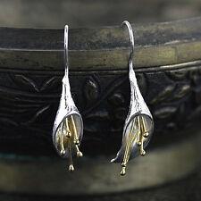 Elegant Golden 925 Silver Lotus Flower Leaf Drop Dangle Hook Earrings Jewelry