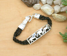 HORSE & WESTERN JEWELLERY LADIES WOMENS BRAIDED HORSES BRACELET - BLACK