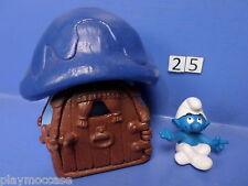 (25) Schtroumpf maison bleu toit bleu 78+ personnage 93 peyo schleich germany