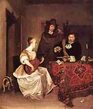 Terborch Gerard A Young Woman Playing A Theorbo To Two Men 5 A4 Print