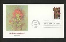 US FDC #2647 Wildflowers 1992 Fleetwood Cachet Wyoming WY Indian Paintbrush