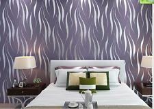 10M Embossed Textured 3D Wave Flocking Purple / Silver Feature Wallpaper Roll