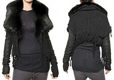 $3500 RICK OWENS Palais Royal HUN Black Fur Leather Knitted Sweater Jacket US 4