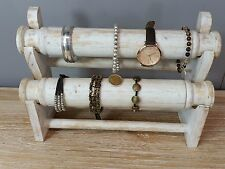 Hand Made Shabby Chic Whitewash Double Roller Jewellery Display Stand Bracelet
