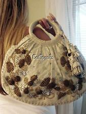 ISABELLA FIORE COCO PUFF TOP HANDLE BAG W/WOODEN BEADS/SEQUINS