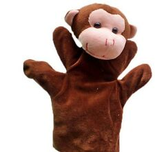 Monkey Animal Soft Plush Glove Big Hand Puppet + Small Finger Puppet Kids Toy