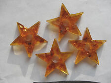 "TWO Reconstituted Amber Flat Star Stone Beads 1 3/4"" Across A680 DNG"