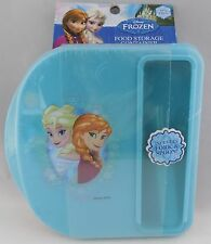 DISNEY FROZEN ELSA ANNA KIDS FOOD STORAGE LUNCH CONTAINER WITH FORK & SPOON SET