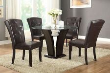 Poundex Dining Chairs Set of 4 in Dark Espresso Faux Leather Dining Room Chairs
