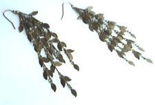 """FUN Cascading Leaf Earrings Very Long 4"""" Lots of movement Club Wear Brass Metal"""