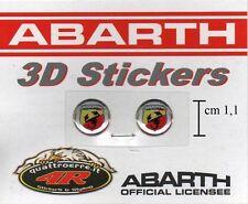 2 ADESIVI STICKERS LOGHI BAGDE 3D ABARTH FIAT 500 GRANDE PUNTO EVO UNO 11mm