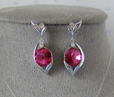 "SWAROVSKI CRYSTAL ELEMENTS ""FUCHSIA"" DANGLE EARRINGS PLATINUM FINISH"