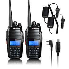 2Pcs Dual Band Interphone TYT 2-Way Walkie Talkie With USB Cable Car Charger