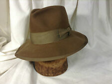Vintage Royal Stetson 25 Brown Fedora Hat Grosgrain Ribbons Size 7 1/8