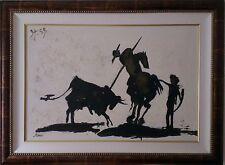 Una grande incorniciato PICASSO stile Silhouette Bull Lotta dipinto tela firmato James