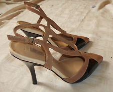 NEXT BEIGE & BLACK LEATHER STILETTO SLING BACK SHOES WEDDING SMART SIZE 4