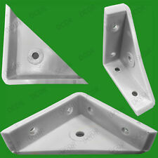 "25x 50mm 2"" Plastic White Cranked Corner Gusset Brace Angle Brackets, Furniture"