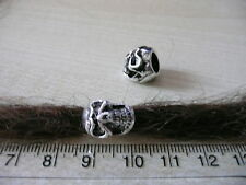 2 Skull White Metal DREADLOCK BEADS 6mm Hole