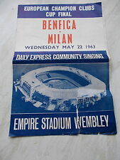 Benfica V Milan Daily Express Community Singing Brochure 22/5/1963 - Cup Final