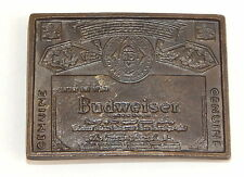 Vintage BUDWEISER Lager Beer Brass Belt Buckle