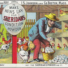 1800's Antique Hen House Chicken Coop Sheridans Condition Powder Farm Egg Card