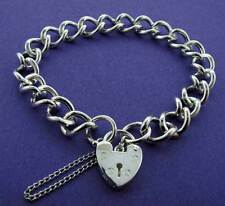 925 STERLING SILVER SOLID  LADIES CURB CHAIN LINK CHARM BRACELET HEART PADLOCK