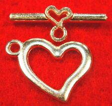 50Sets WHOLESALE Tibetan Silver-Plated HEART Toggle Clasps Connectors Q0305