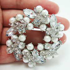 Bride Wedding Flawless White Wreath Pearl Clear Rhinestone Crystal Brooch