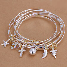 Unisex 925 Sterling Silver Flower Rose Sea Beads Cross Charms Moon Bracelet L67