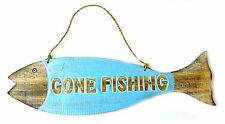 GONE FISHING SIGN BLUE RUSTIC WOOD DECOR CABIN LODGE HOME COUNTRY PRIMITIVE ART