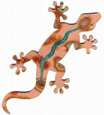 """COPPERCUTTS Gecko Wall Plaque 5"""" x 10.5"""" SouthWest Rustic Style Copper & Wood"""