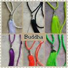 fluro fan tassel with buddha necklace approx 50cm from back of neck