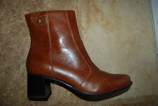 Dark Caramel Brown Leather NATURALIZER Side Zip Ankle Boots 8 M24