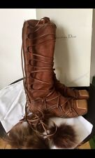 Christian Dior Eskimo Bohemian Style Wrap Around Brown Suede Zip Up Boots EU 40
