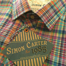 """NUOVO Simon CARTER XL 17"""" 43cm italiano in tessuto Check camicia di cotone fine di marca"""