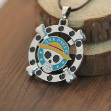 One Piece Anime Luffy Logo Rotatable Metal Necklace Unisex Chain Pendant