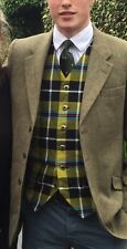 MENS WAISTCOAT-HANDMADE- CORNISH NATIONAL TARTAN-CORNISH HUNTING TARTAN-ST PIRAN